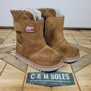 Sorel Rylee Kids Girls Brown Suede Waterproof Winter Boots Youth